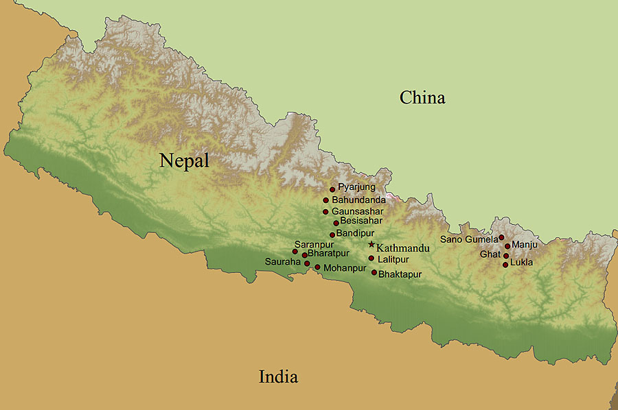 Empower Nepali Girls operates in locales throughout Nepal, especially in remote regions where children might be most neglected and vulnerable. This map shows some of the villages where we currently support girls, many of whom have been in our program for several years